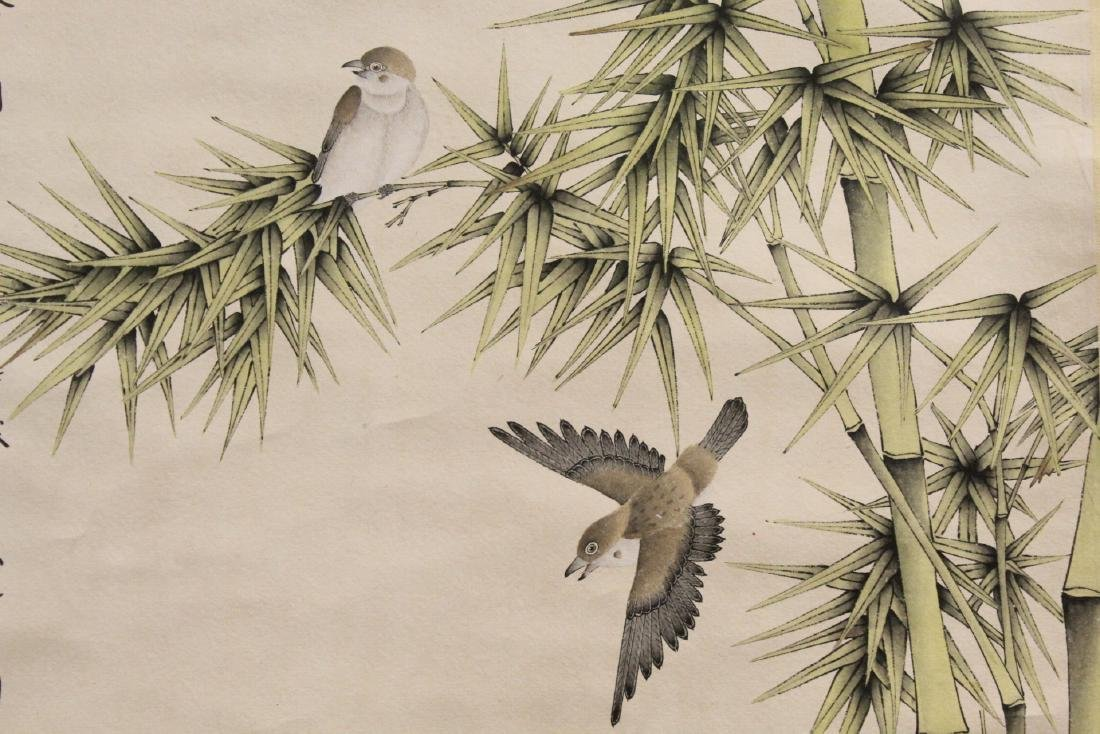 "Chinese watercolor scroll ""bamboo tree and birds"" - 7"