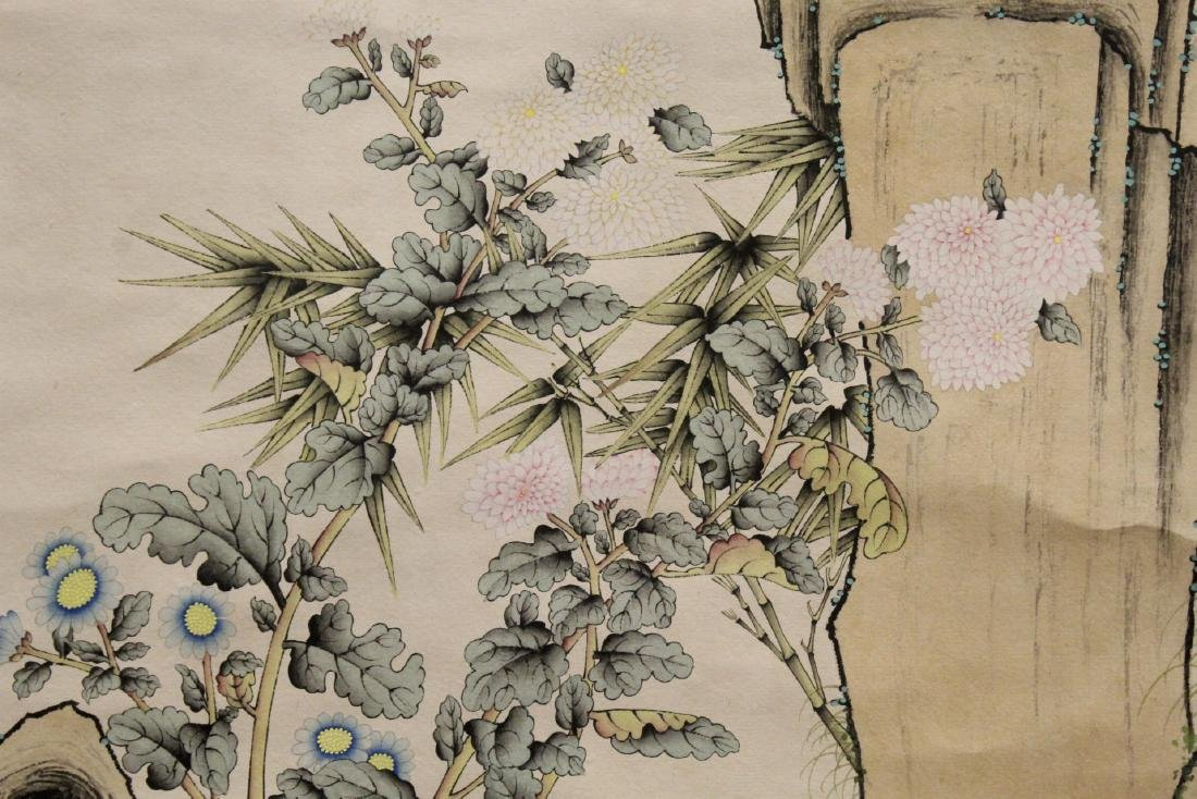 "Chinese watercolor scroll ""bamboo tree and birds"" - 8"
