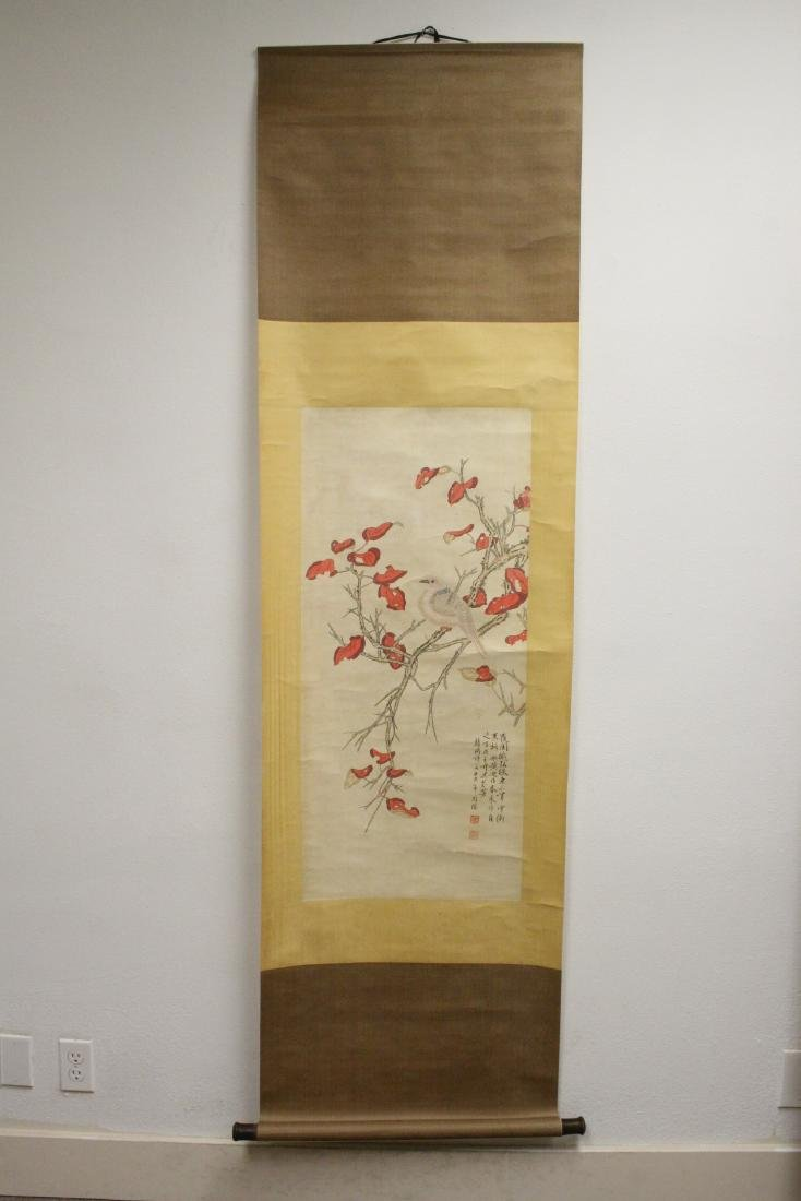 """Chinese watercolor scroll """"birds and flowers"""" - 2"""
