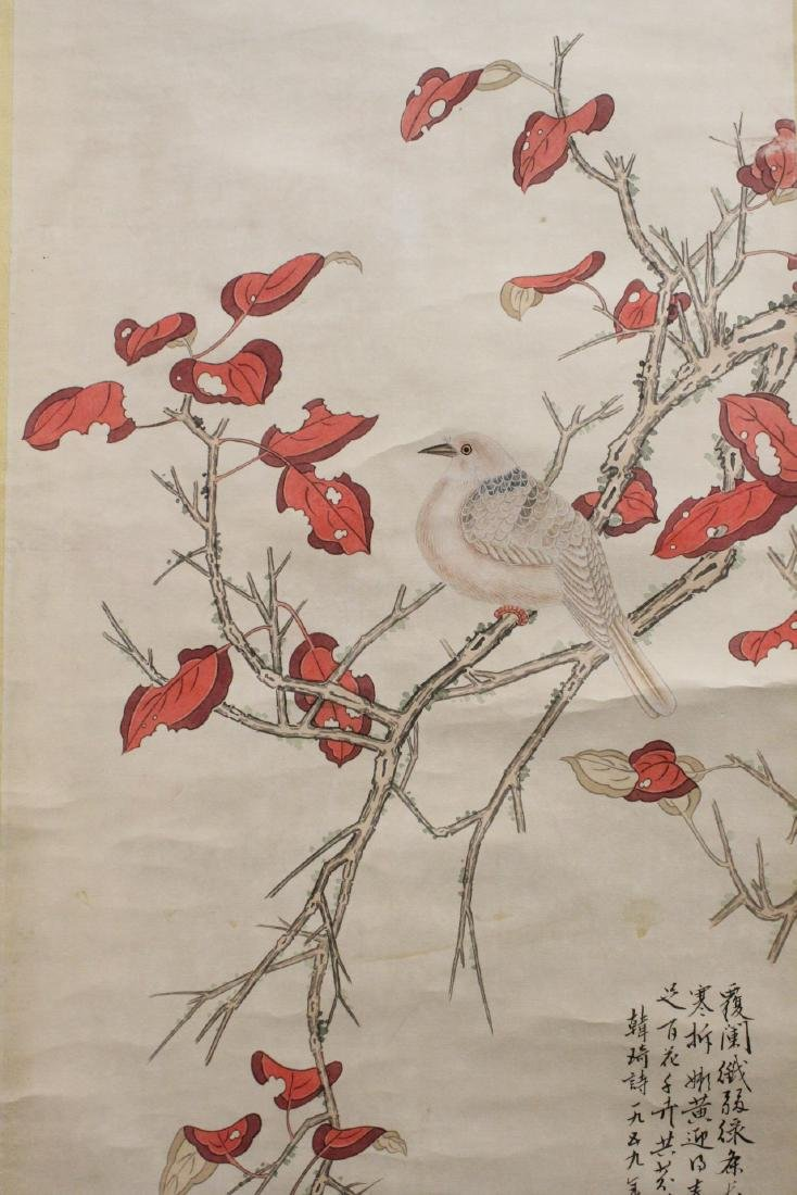 "Chinese watercolor scroll ""birds and flowers"" - 9"