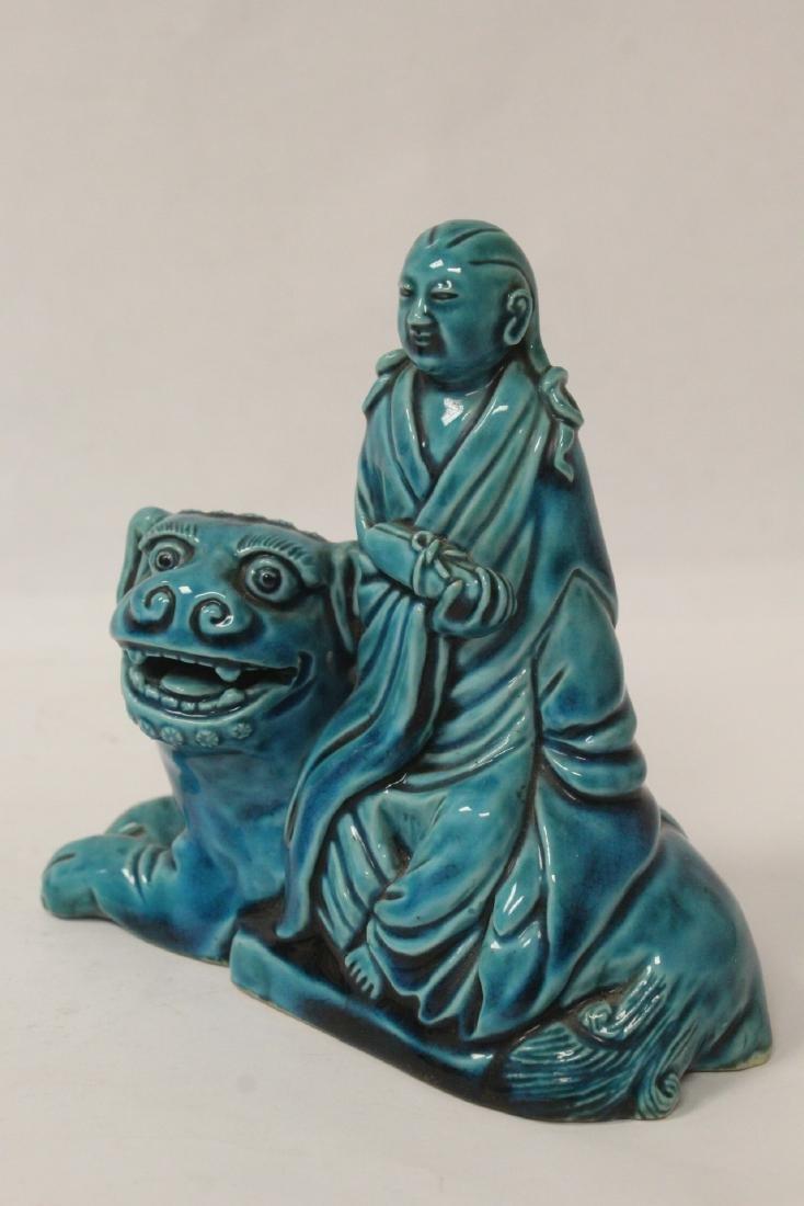 2 turquoise glazed figures - 10