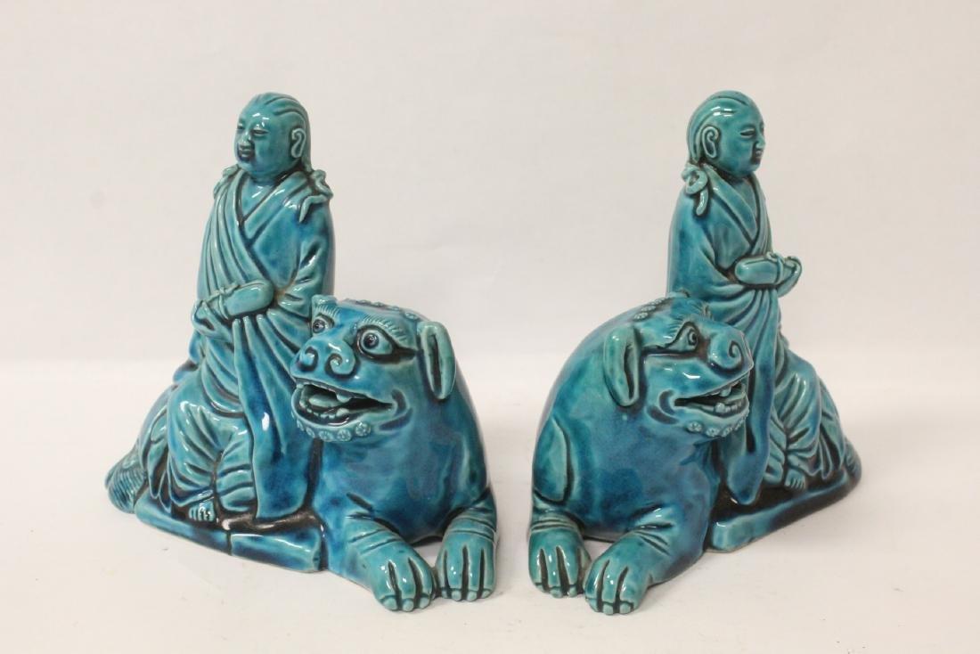 2 turquoise glazed figures - 2
