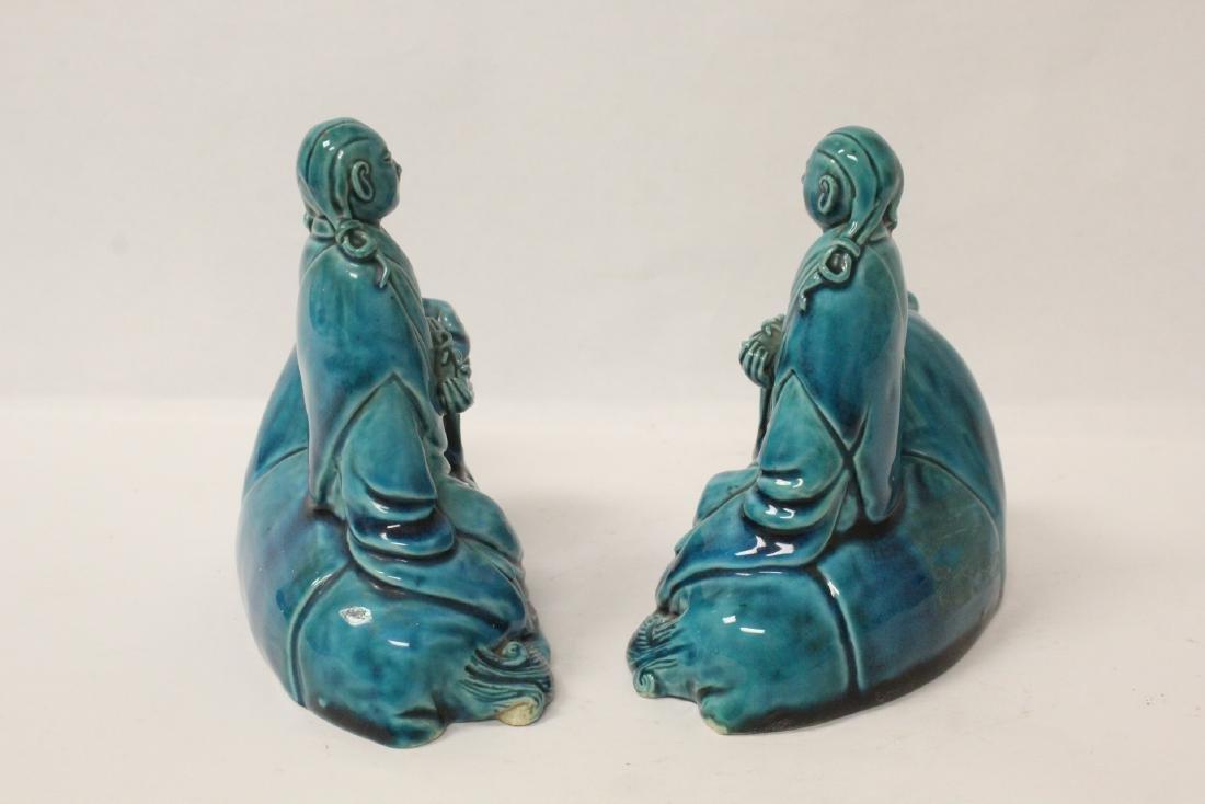 2 turquoise glazed figures - 4