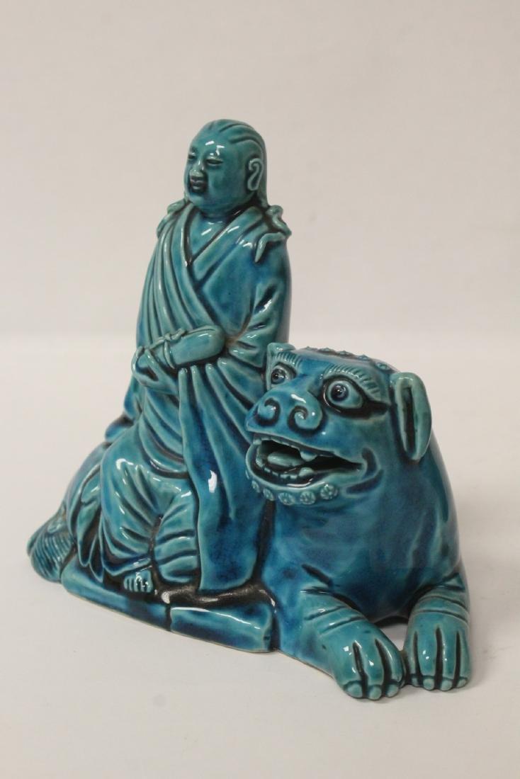 2 turquoise glazed figures - 8