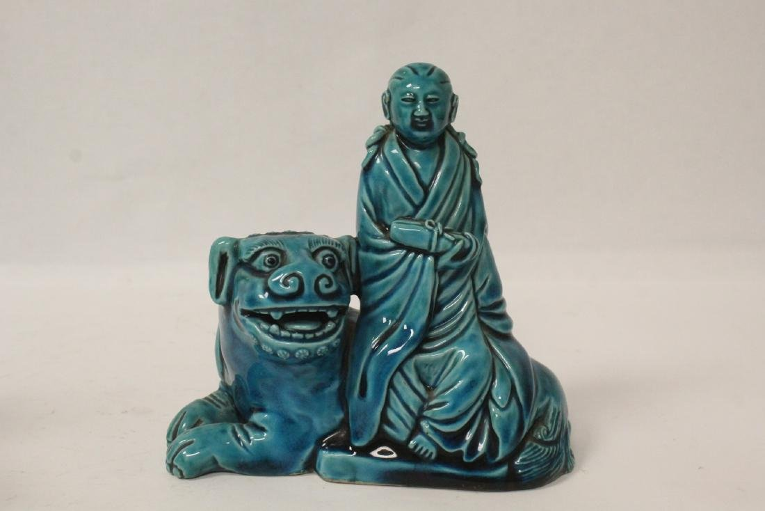 2 turquoise glazed figures - 9