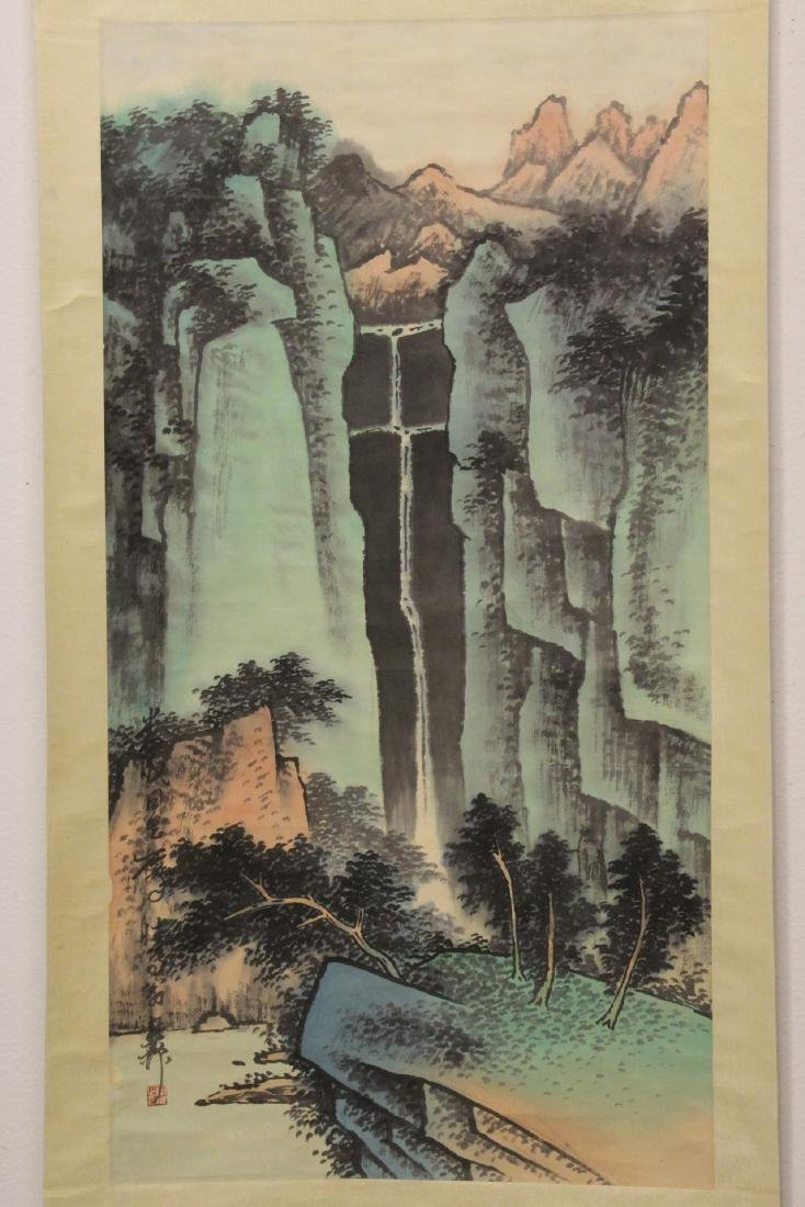 "Chinese watercolor scroll ""mountain landscape"""