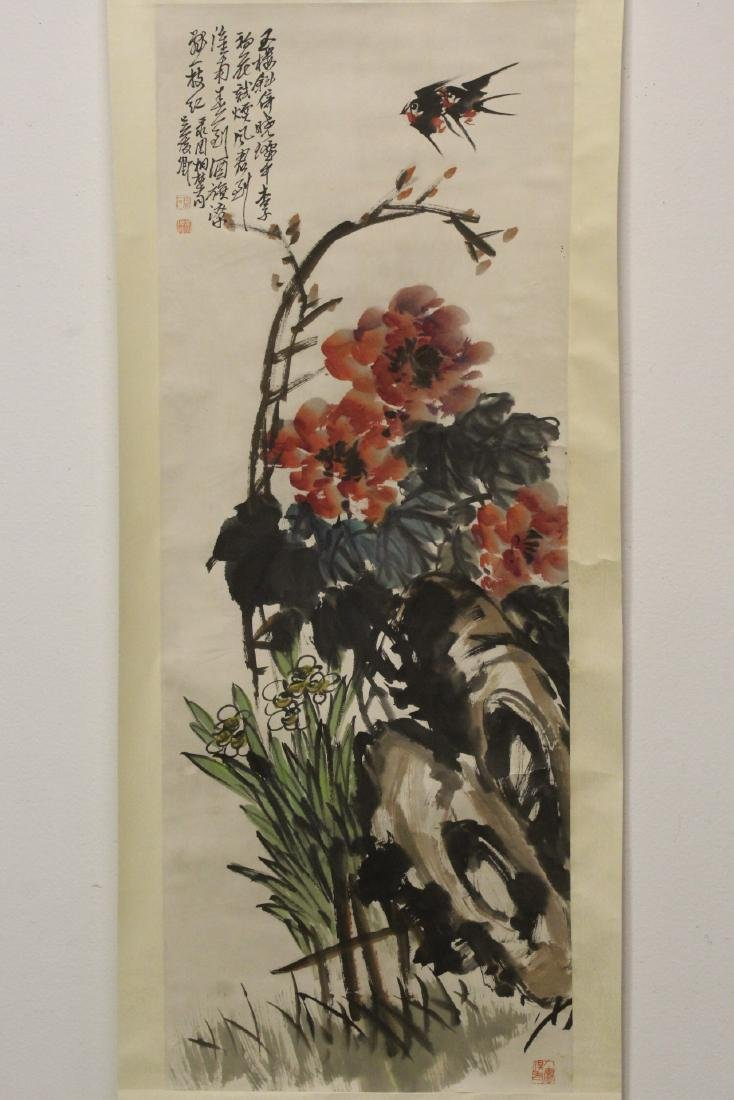 """Chinese watercolor scroll """"birds and flower"""""""