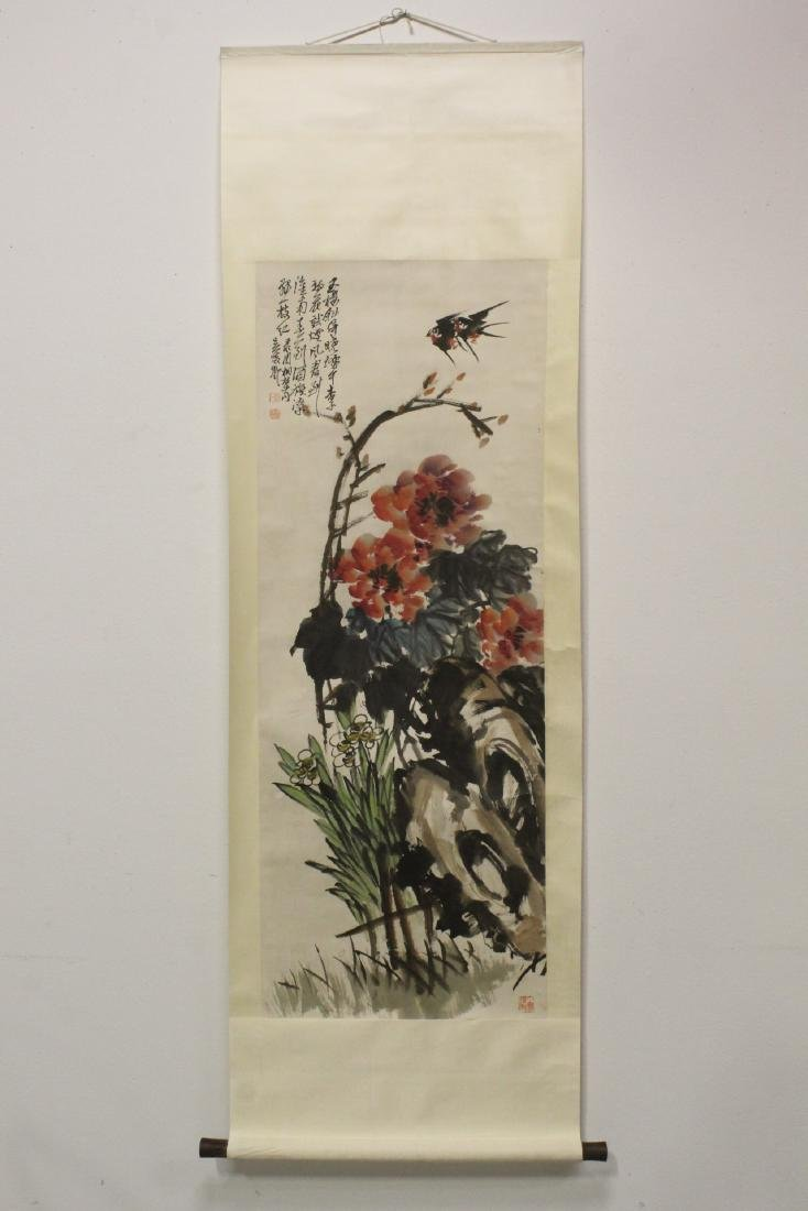 """Chinese watercolor scroll """"birds and flower"""" - 2"""