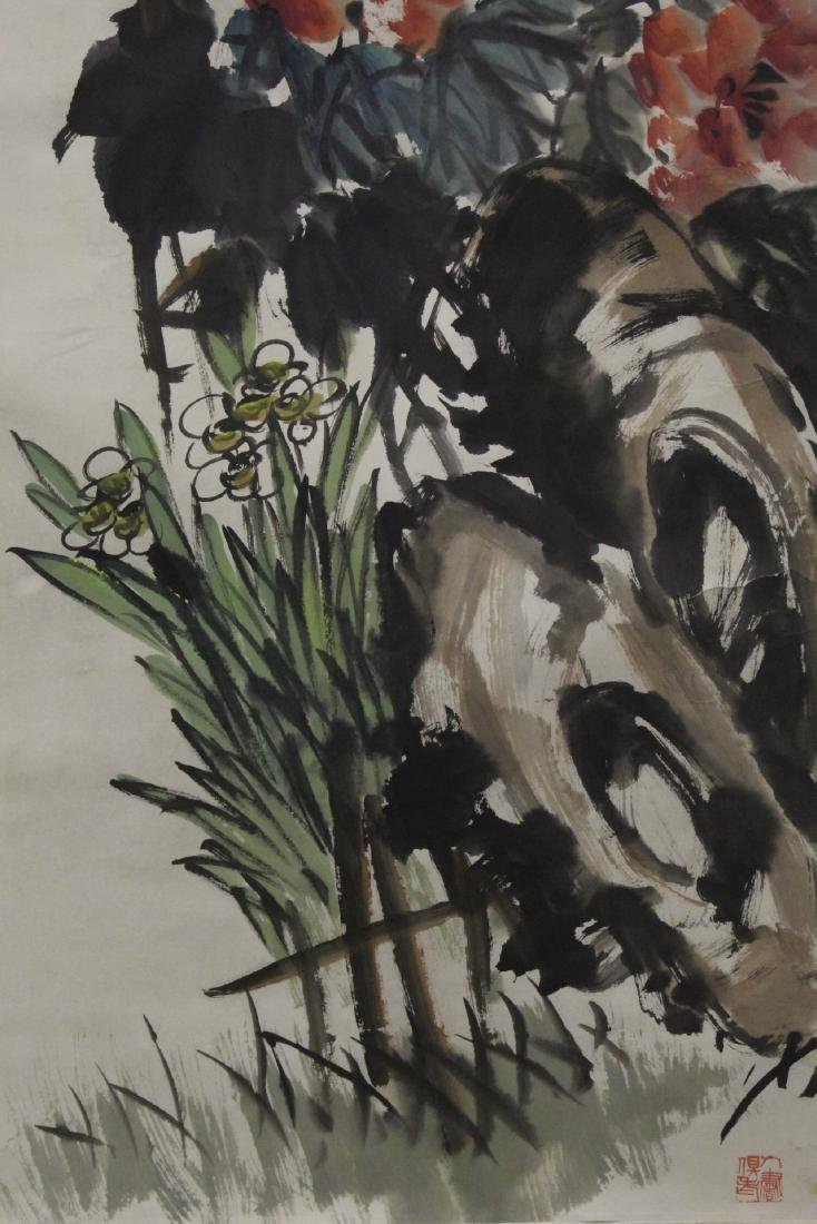 """Chinese watercolor scroll """"birds and flower"""" - 3"""