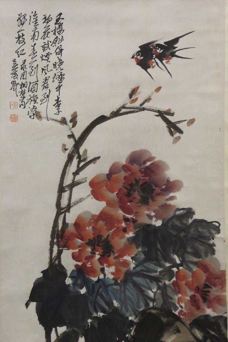 """Chinese watercolor scroll """"birds and flower"""" - 4"""