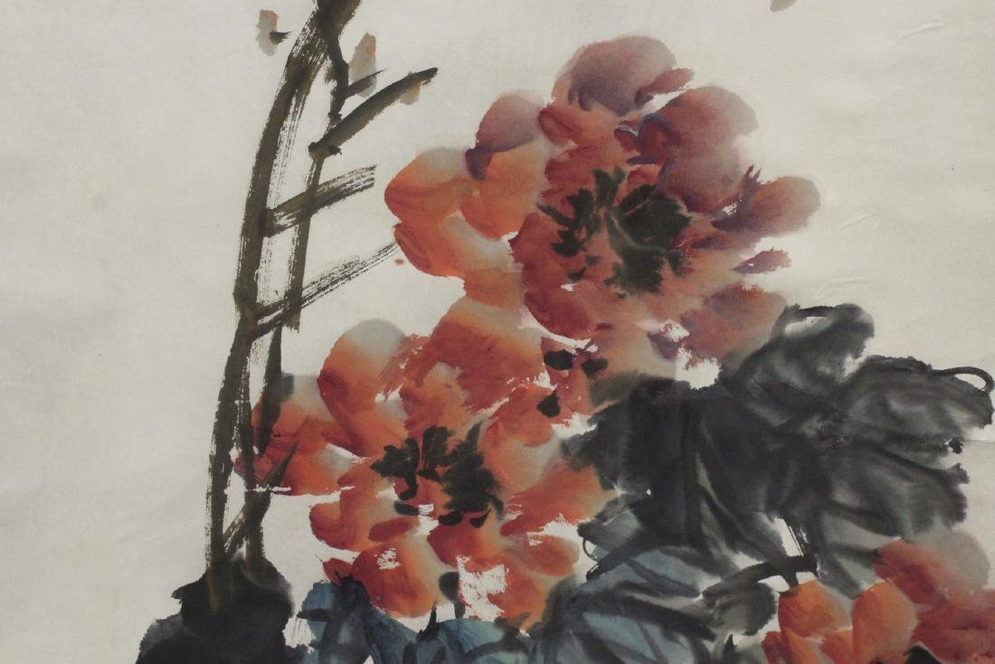 """Chinese watercolor scroll """"birds and flower"""" - 9"""
