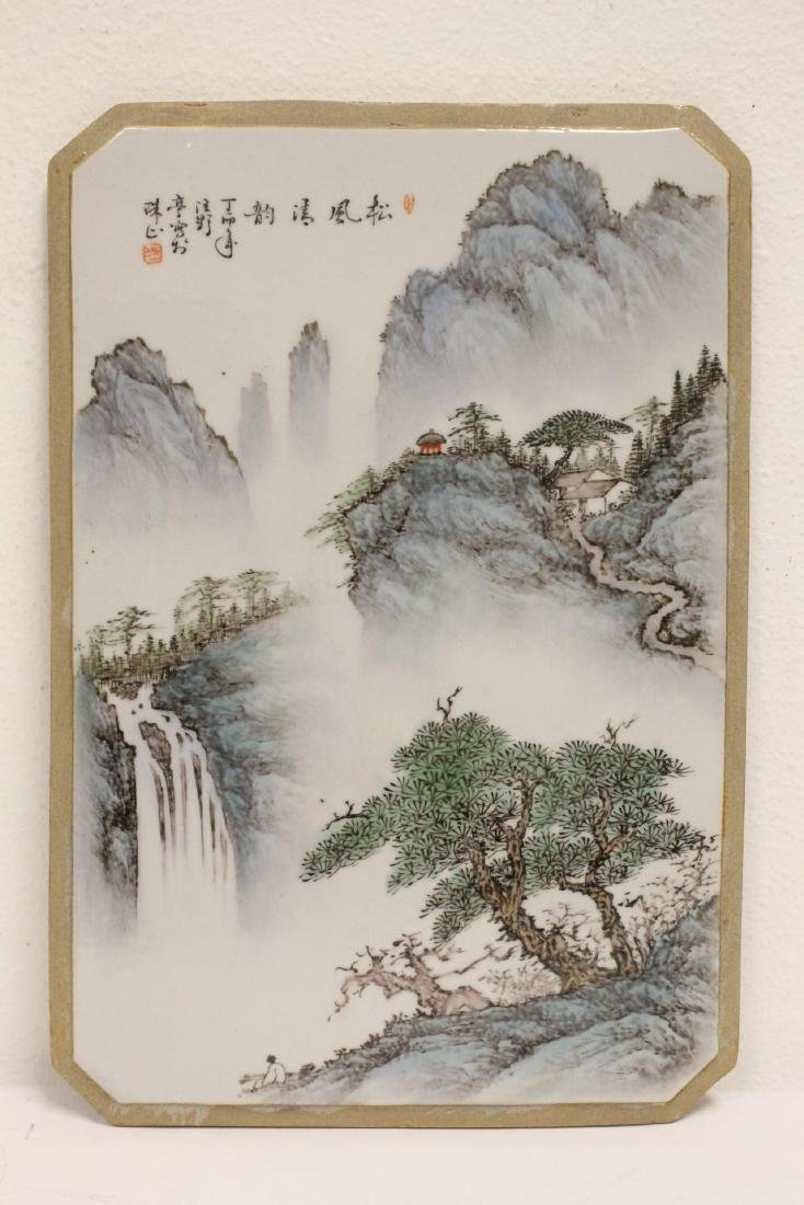 Pair Chinese famille rose porcelain plaques - 2