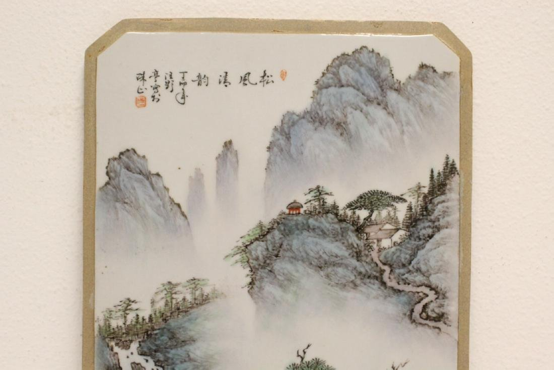 Pair Chinese famille rose porcelain plaques - 3