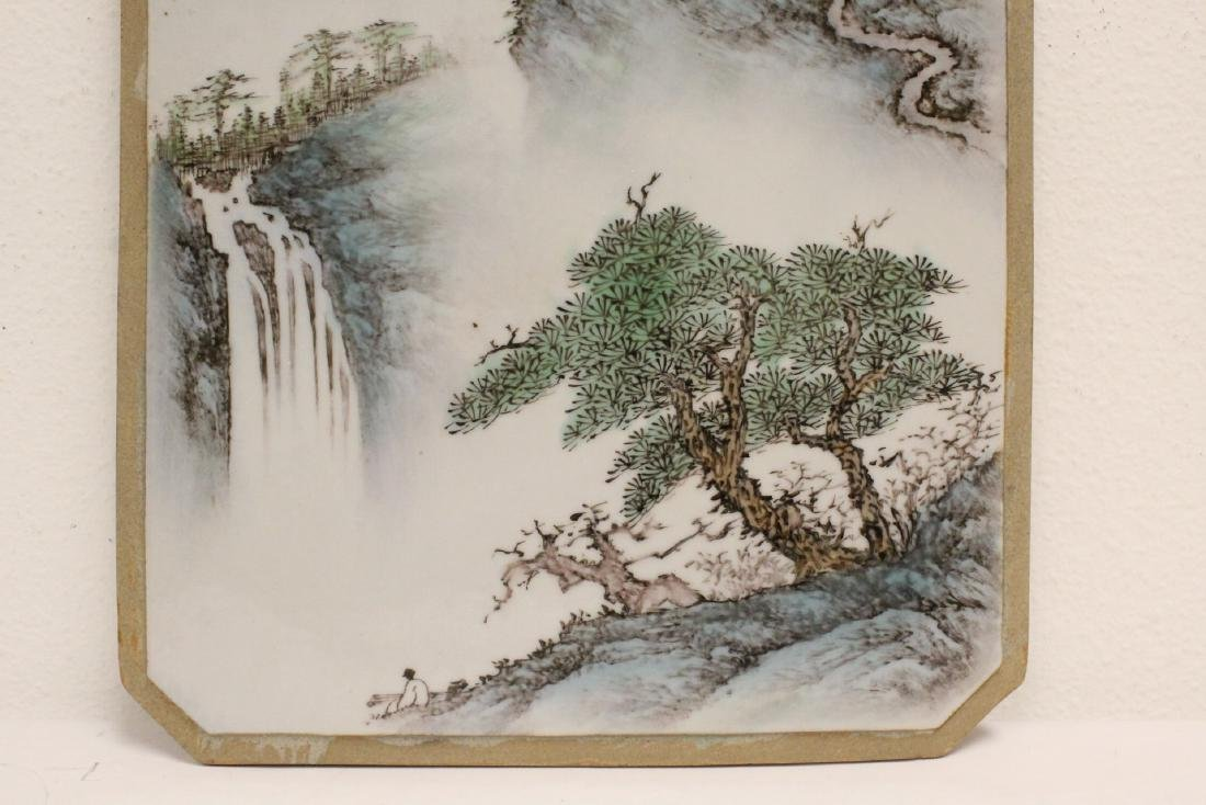 Pair Chinese famille rose porcelain plaques - 4