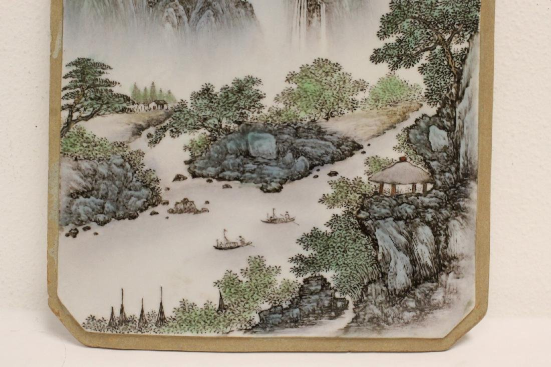 Pair Chinese famille rose porcelain plaques - 8