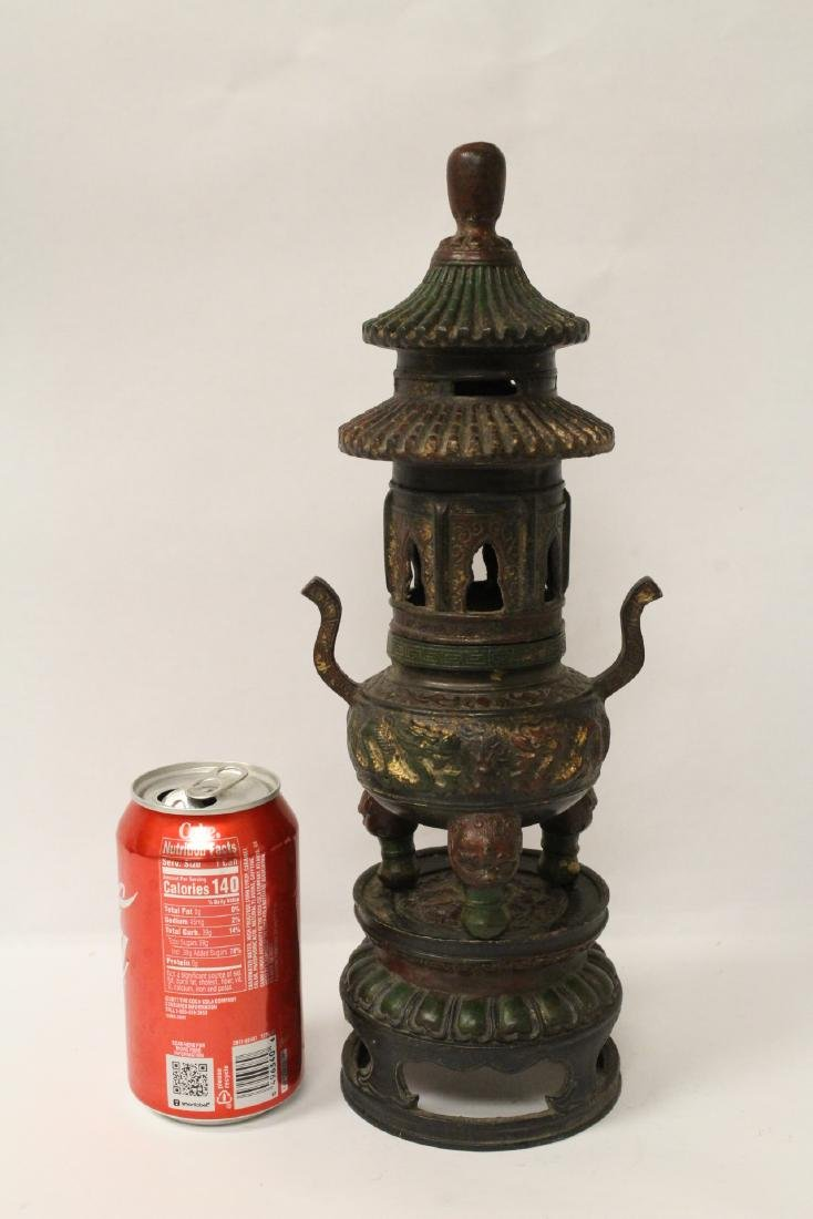 Chinese bronze censer, the top in pagoda motif - 2