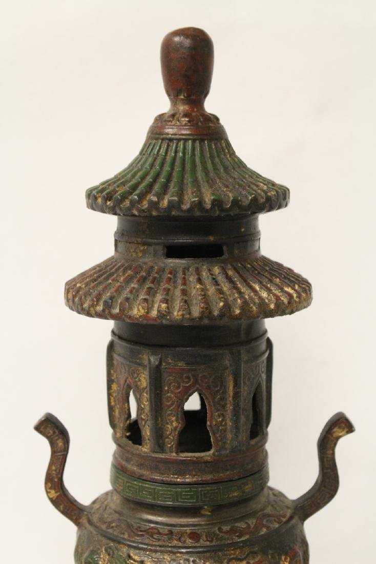 Chinese bronze censer, the top in pagoda motif - 5