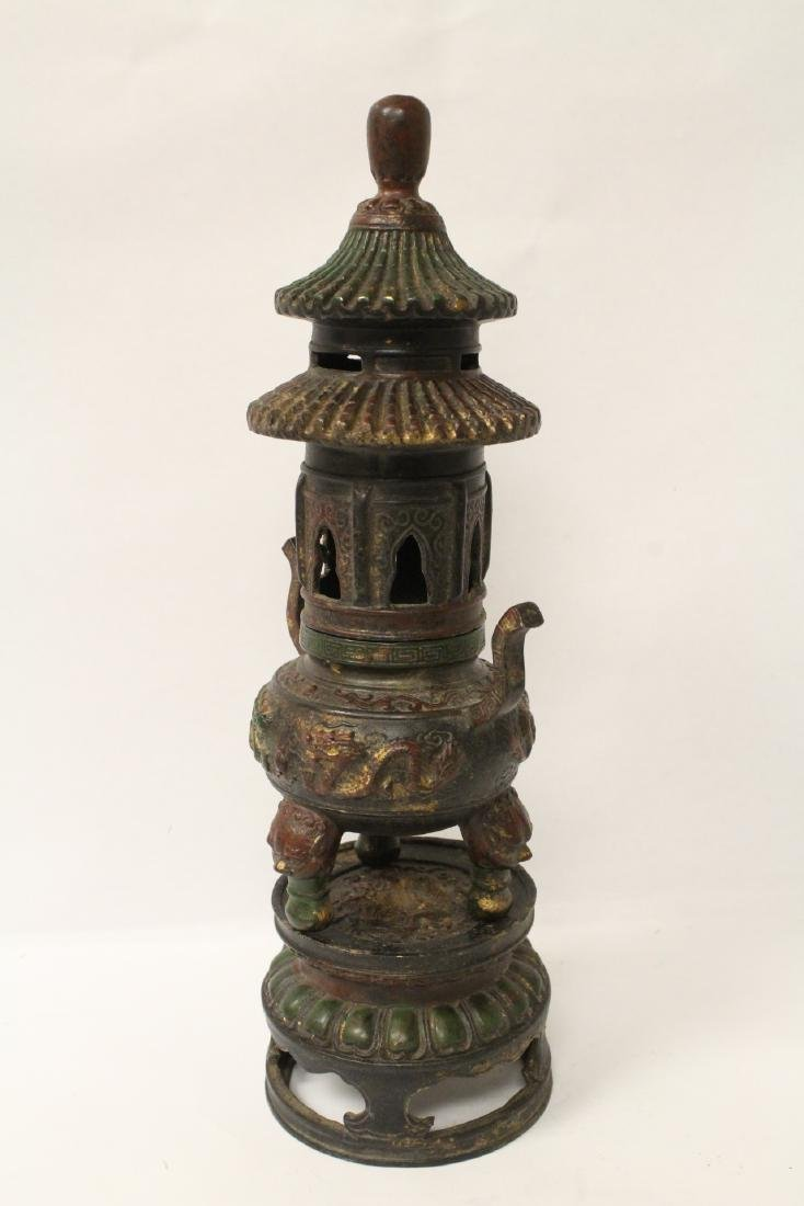Chinese bronze censer, the top in pagoda motif - 6