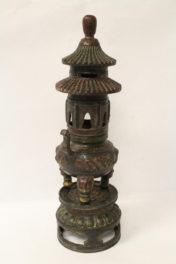 Chinese bronze censer, the top in pagoda motif - 7