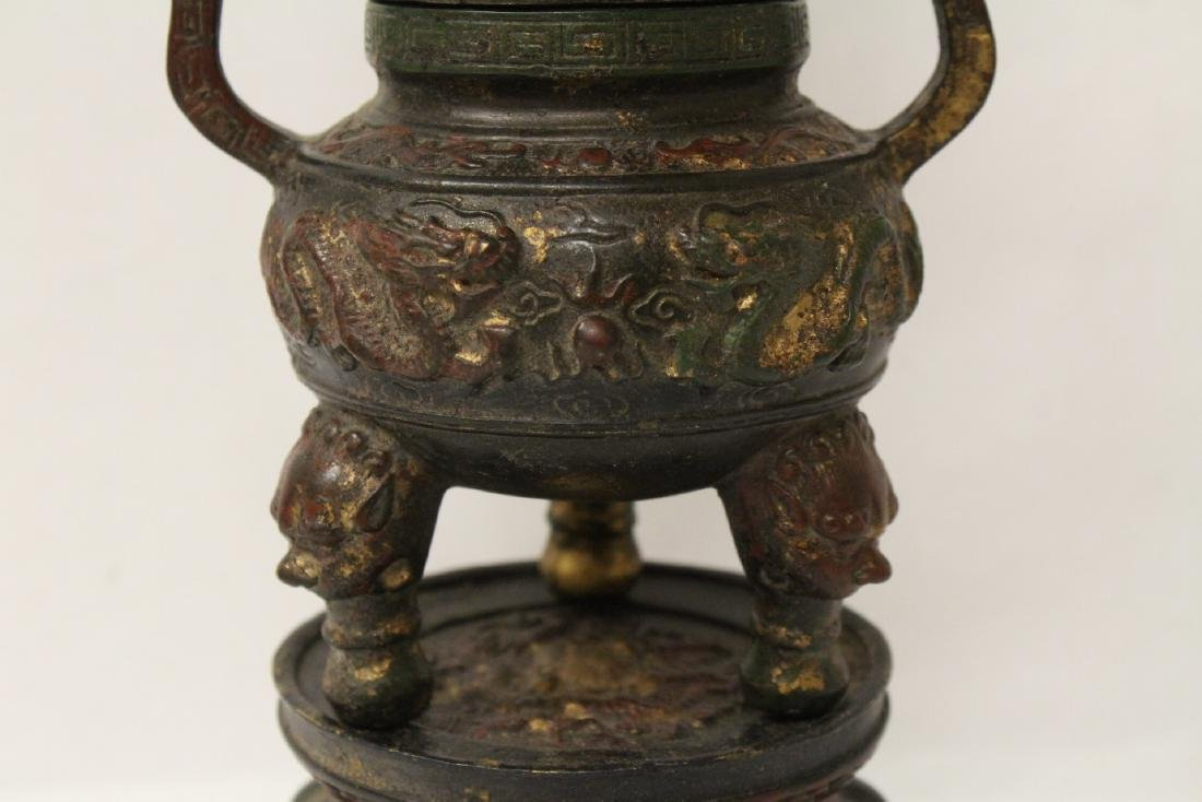 Chinese bronze censer, the top in pagoda motif - 9