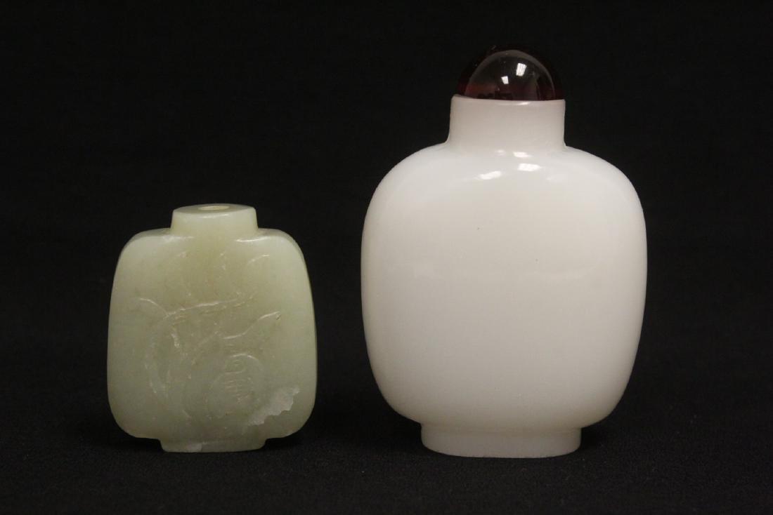 A jade snuff bottle & a Peking glass snuff bottle
