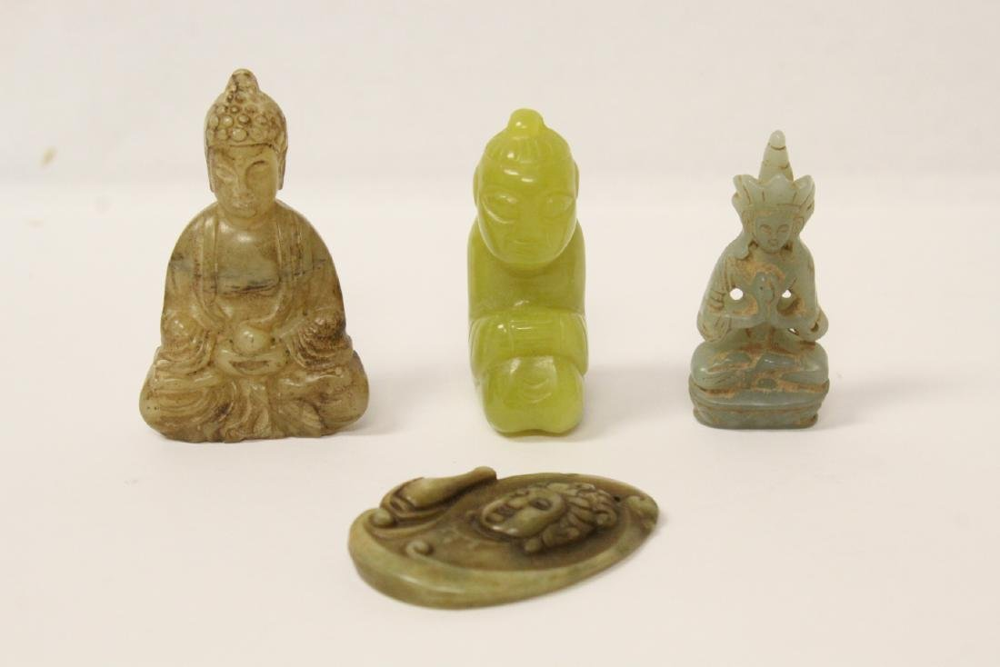 4 jade carved ornaments