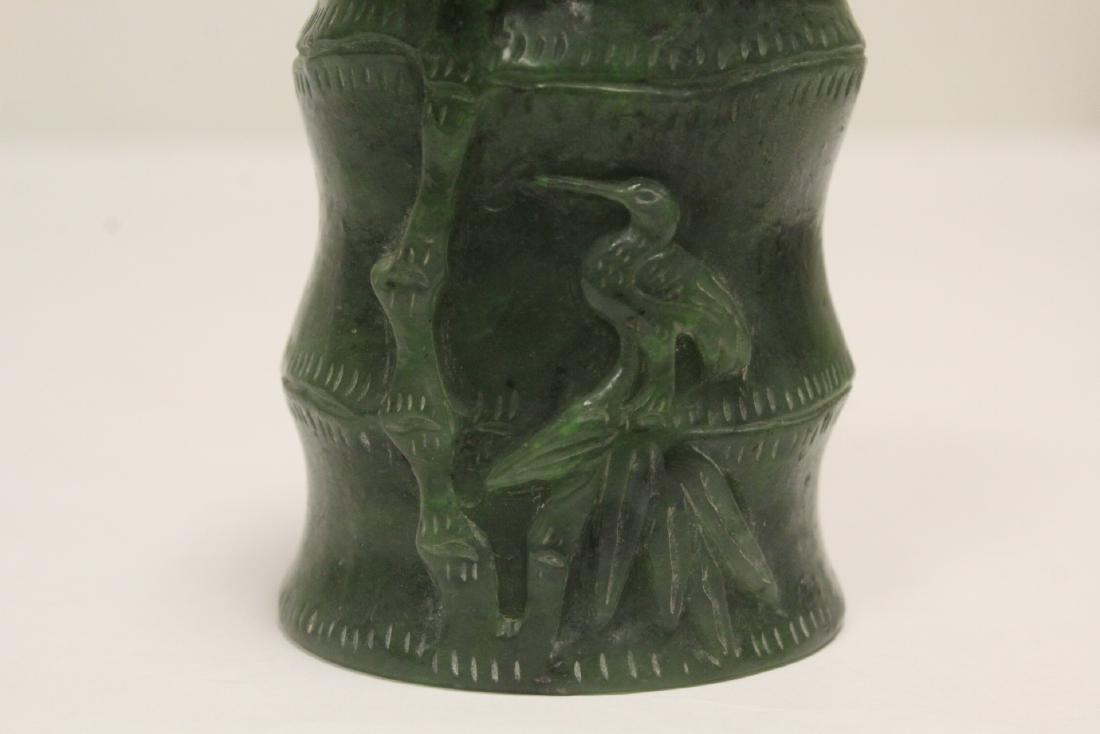 Chinese green jade carved brush holder - 7