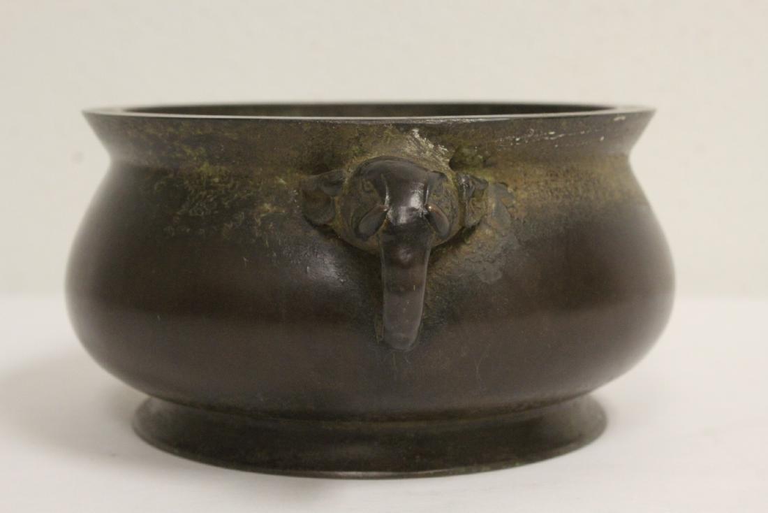 Chinese bronze open censer - 4