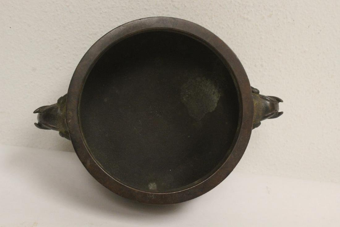 Chinese bronze open censer - 5