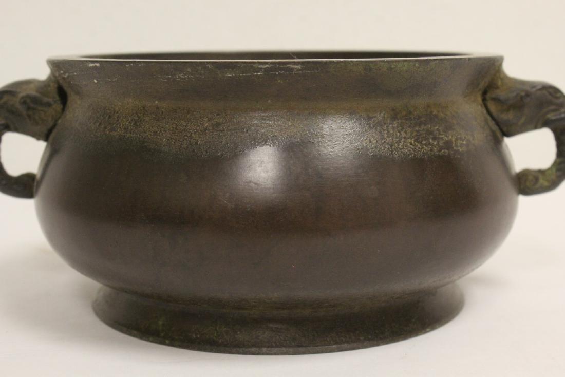 Chinese bronze open censer - 6