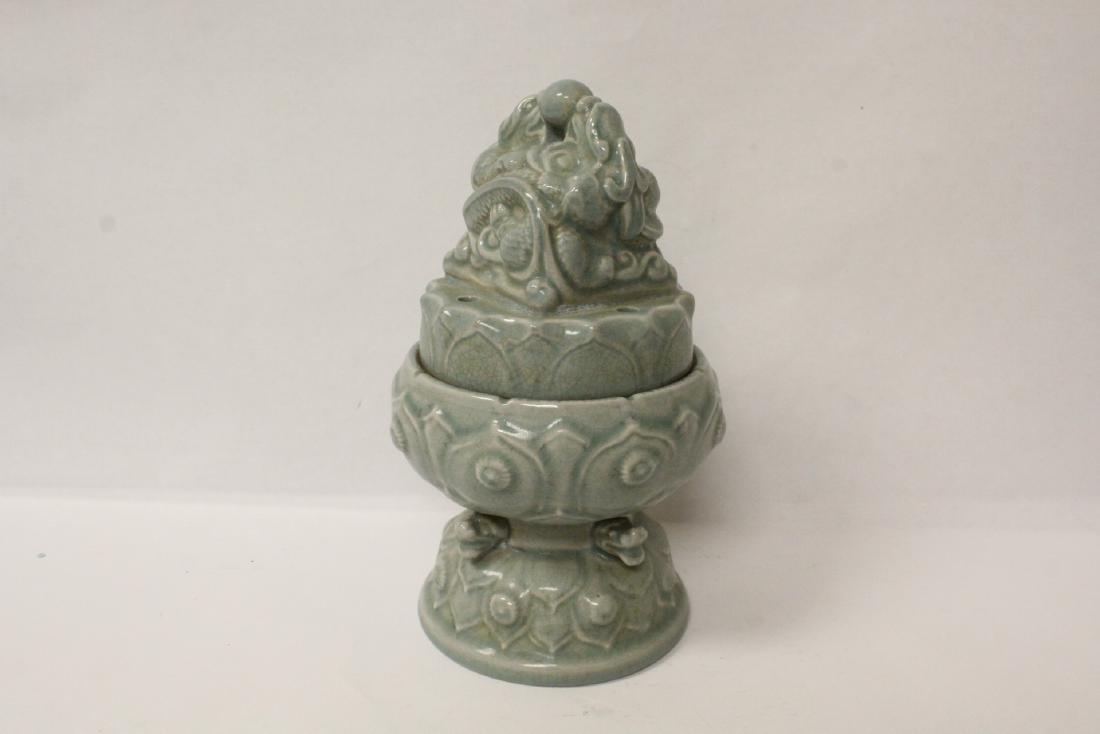 Chinese celadon censer - 4