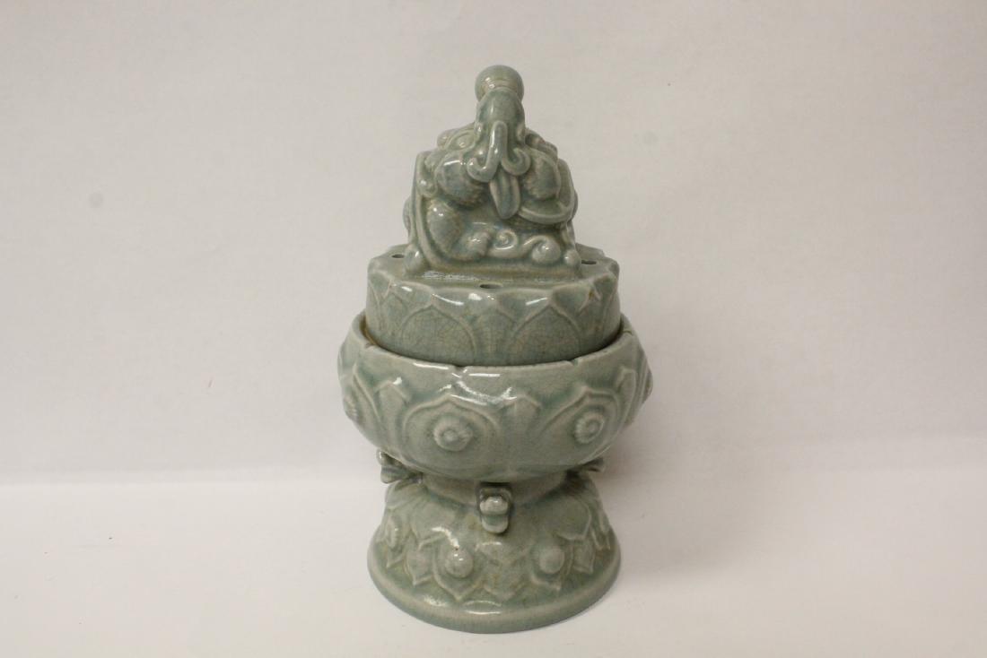 Chinese celadon censer - 5