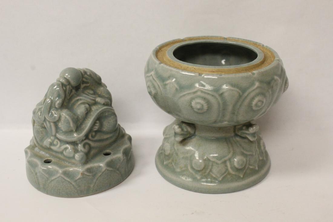 Chinese celadon censer - 6