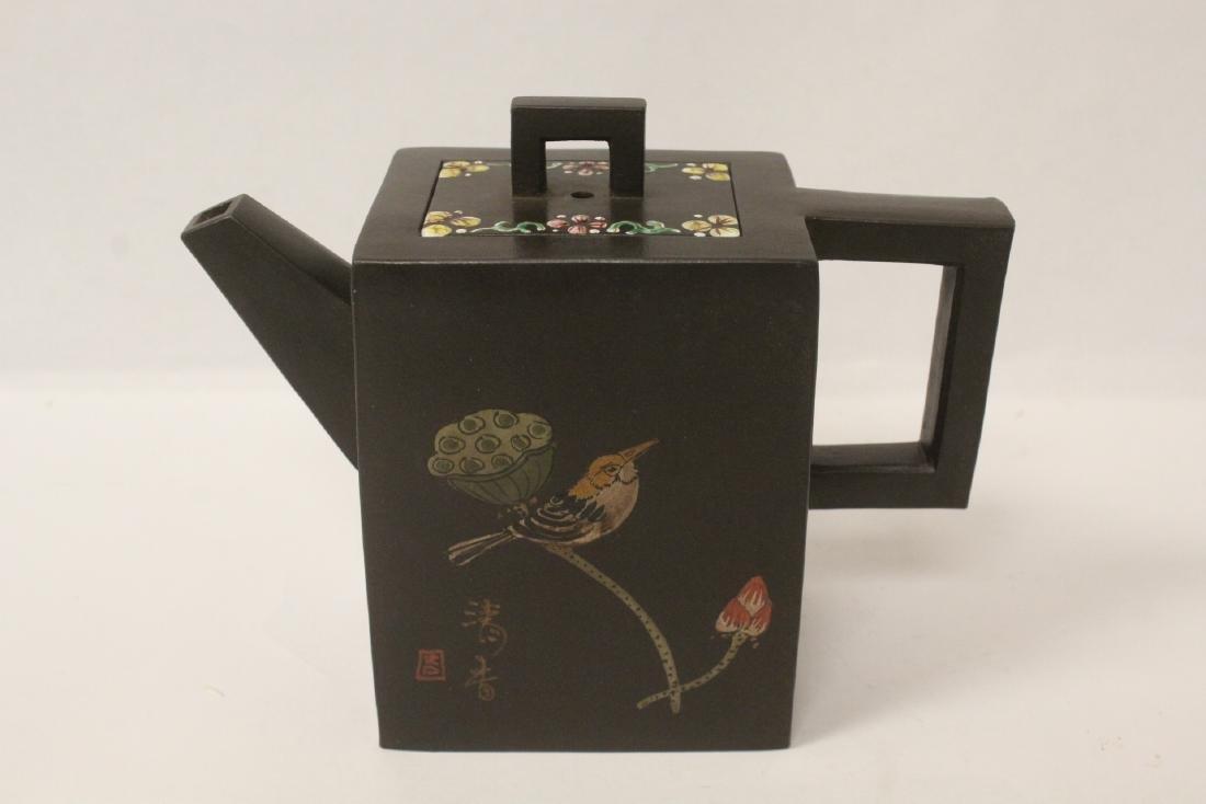 Enamel on Yixing teapot