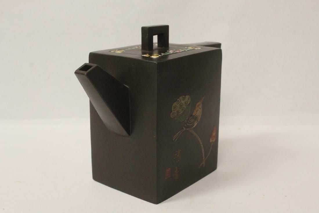 Enamel on Yixing teapot - 2