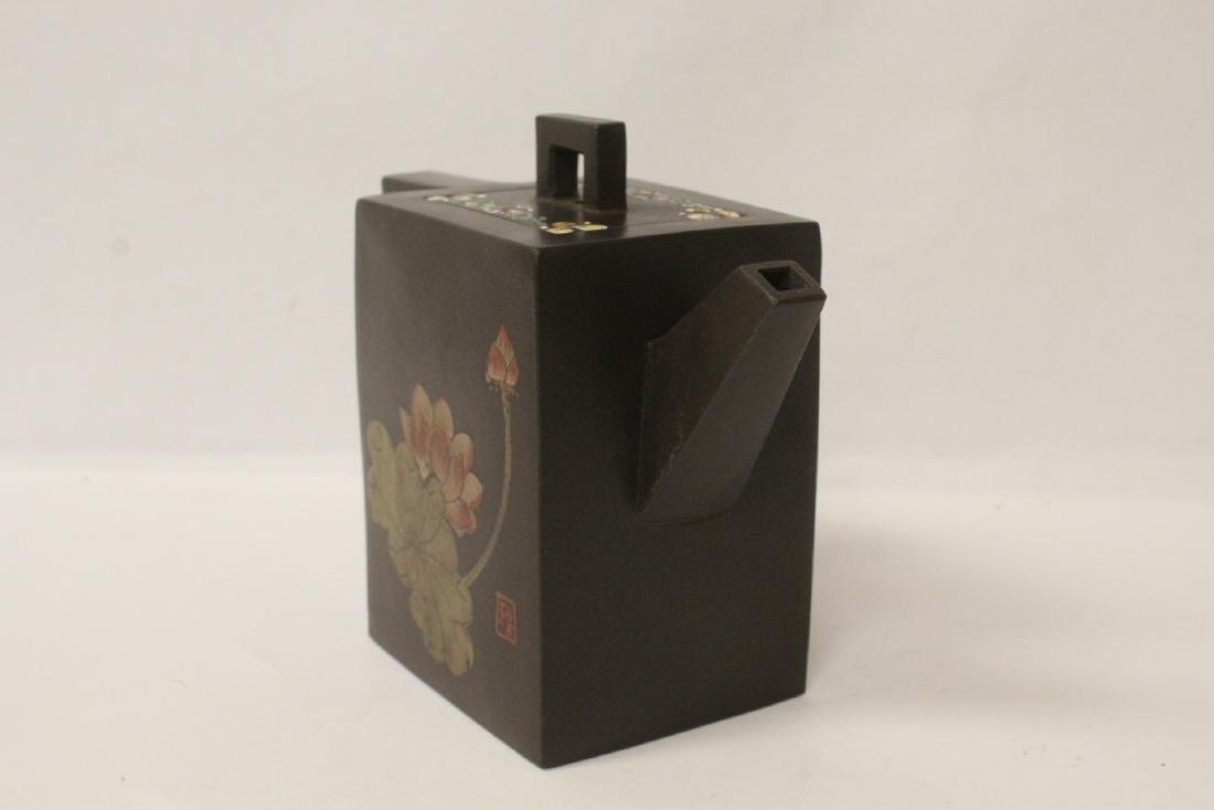 Enamel on Yixing teapot - 3