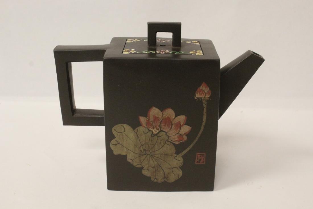 Enamel on Yixing teapot - 4