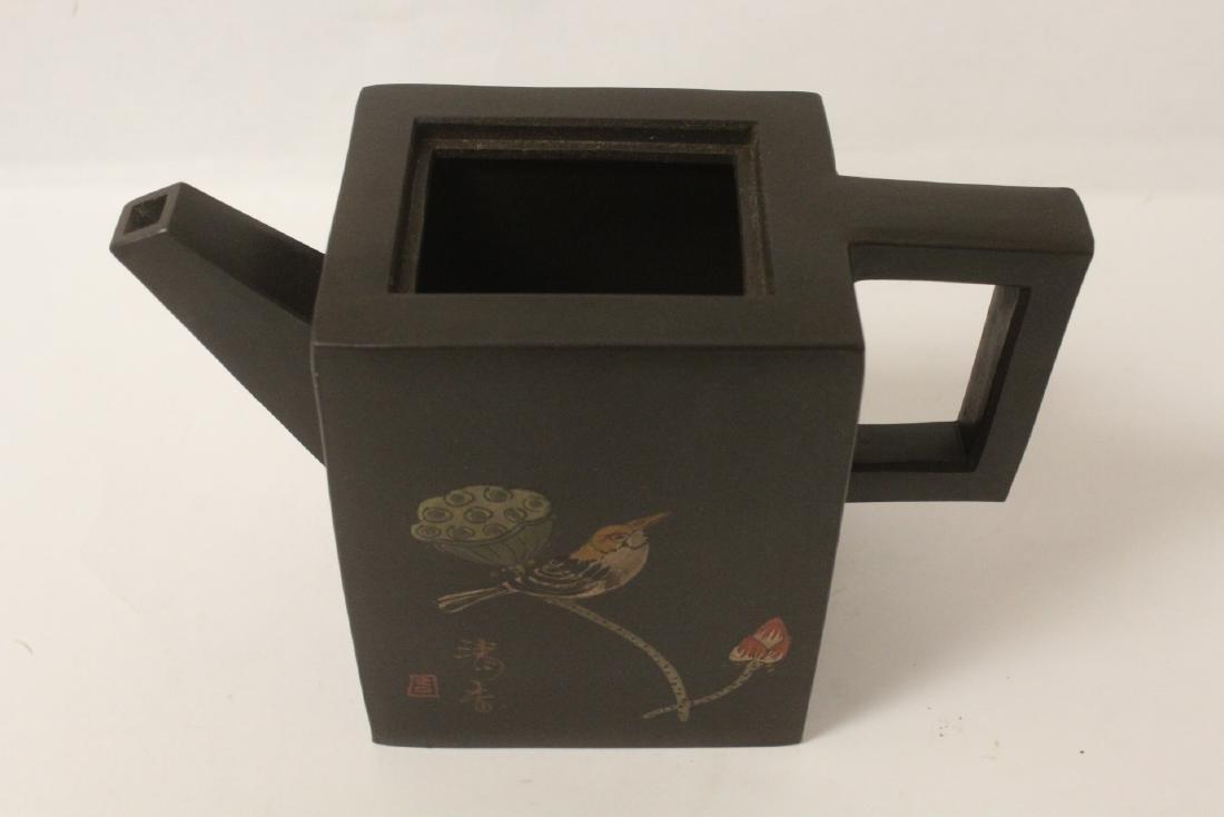 Enamel on Yixing teapot - 6