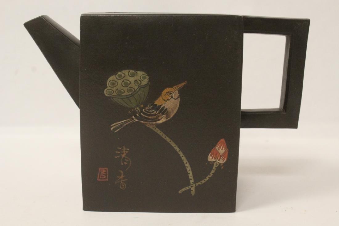 Enamel on Yixing teapot - 7