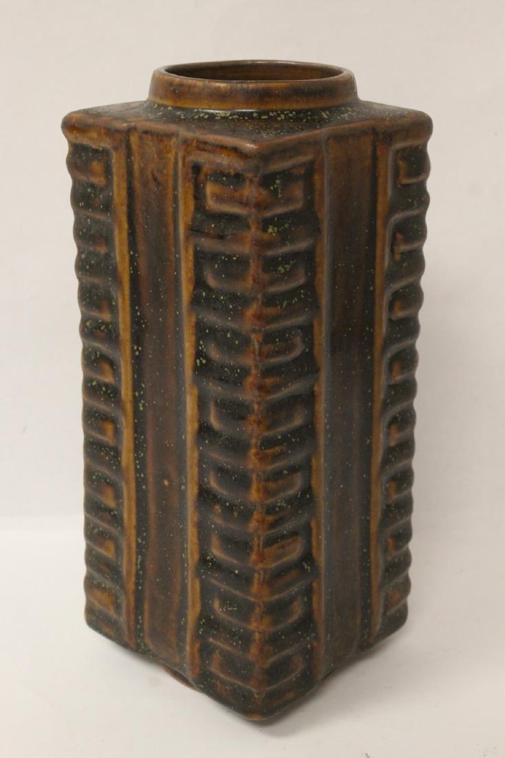 Chinese brown glazed square porcelain vase - 3