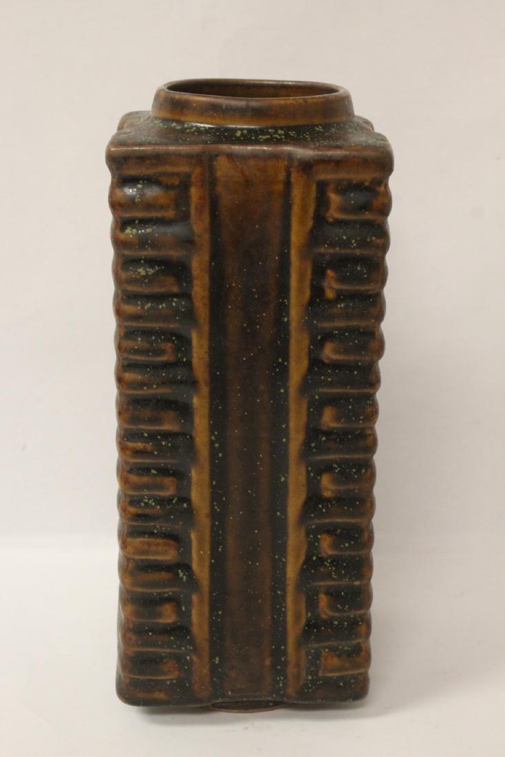 Chinese brown glazed square porcelain vase - 4