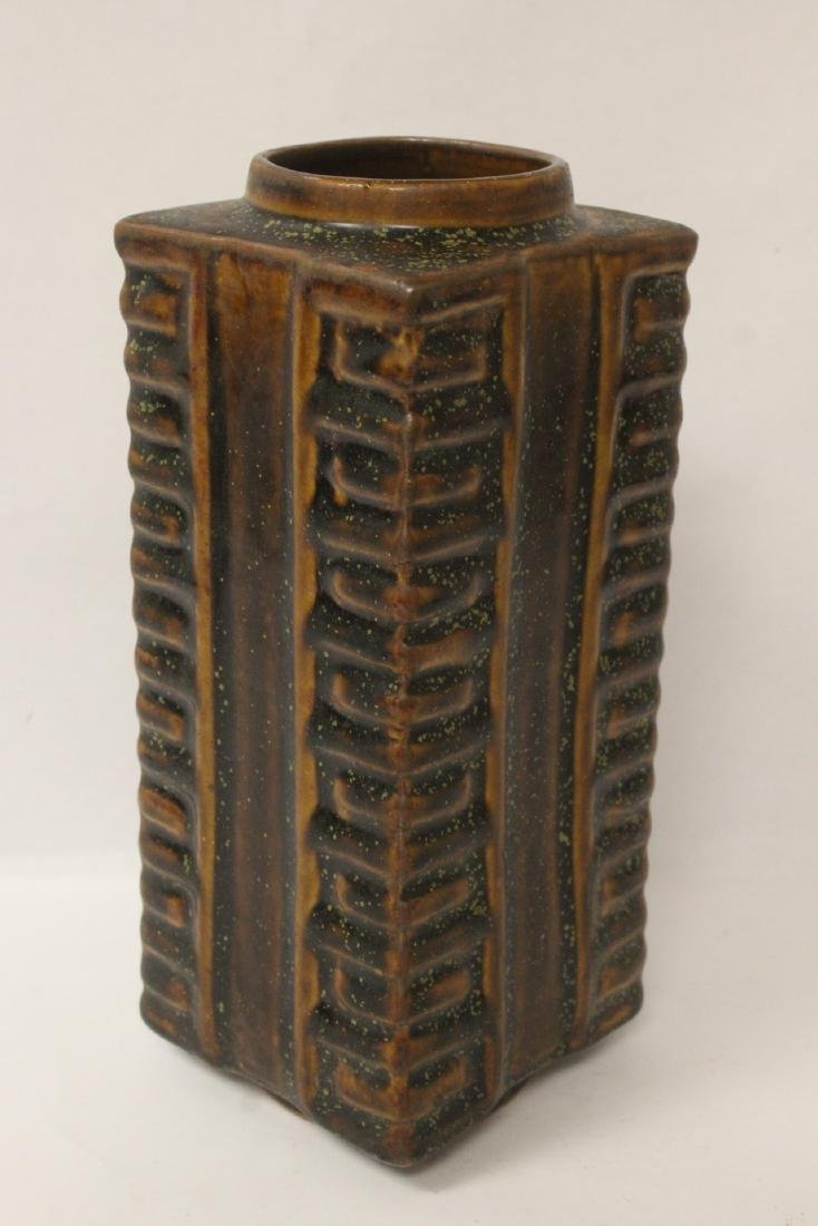 Chinese brown glazed square porcelain vase - 5