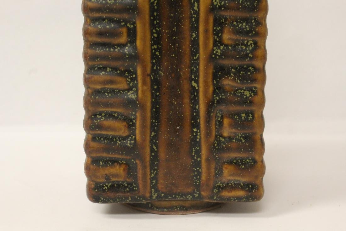 Chinese brown glazed square porcelain vase - 9