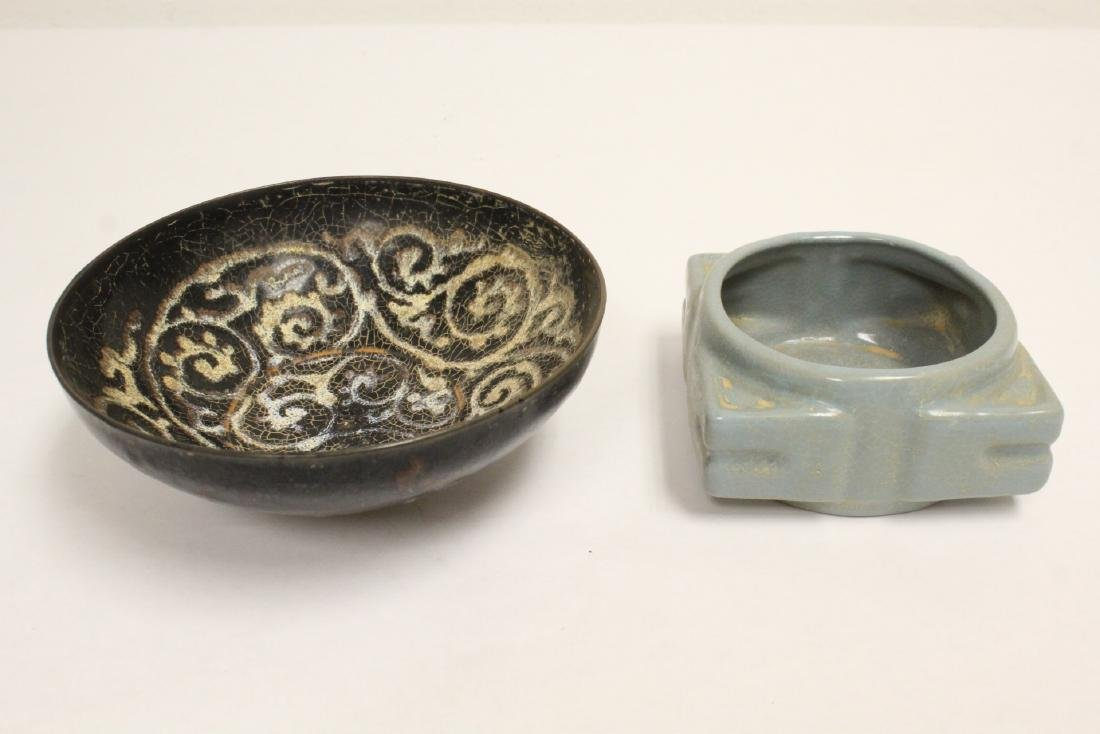 Song style porcelain bowl, and a square censer