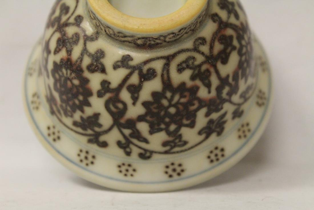 Red and white tea bowl - 10