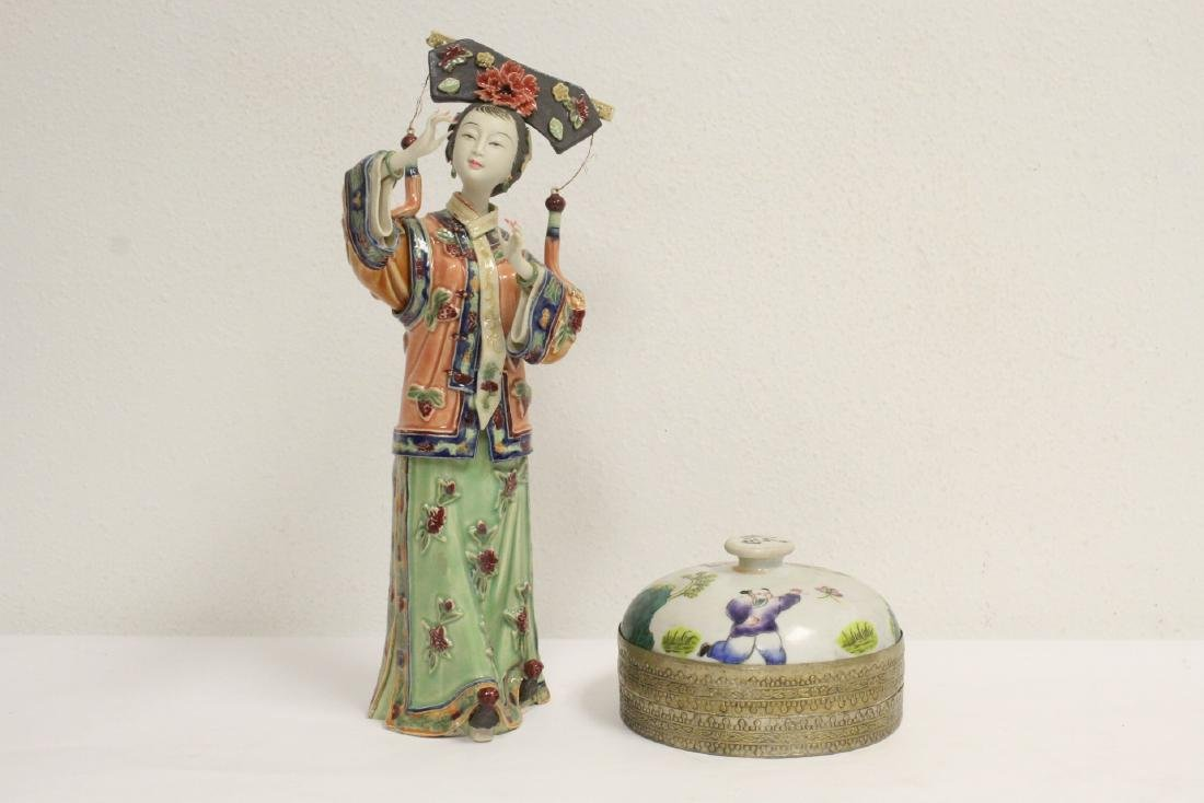 Chinese vintage box, and a Chinese porcelain figure
