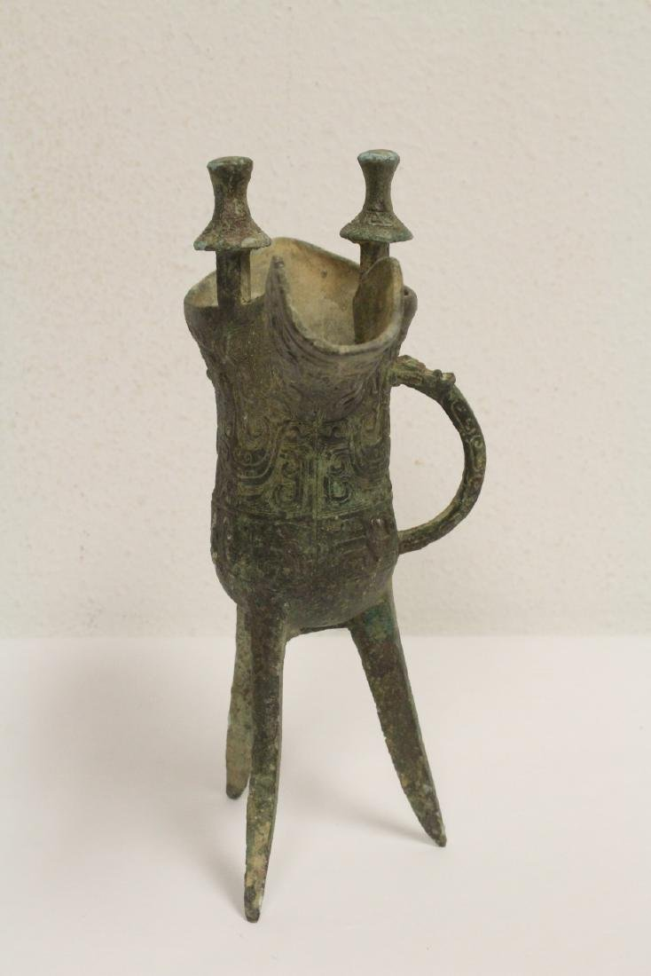 Chinese archaic style bronze jue - 6