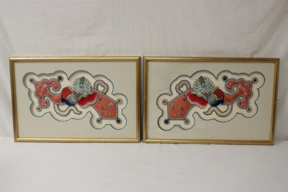 Pair Chinese 18th/19th c. embroidery ruyi