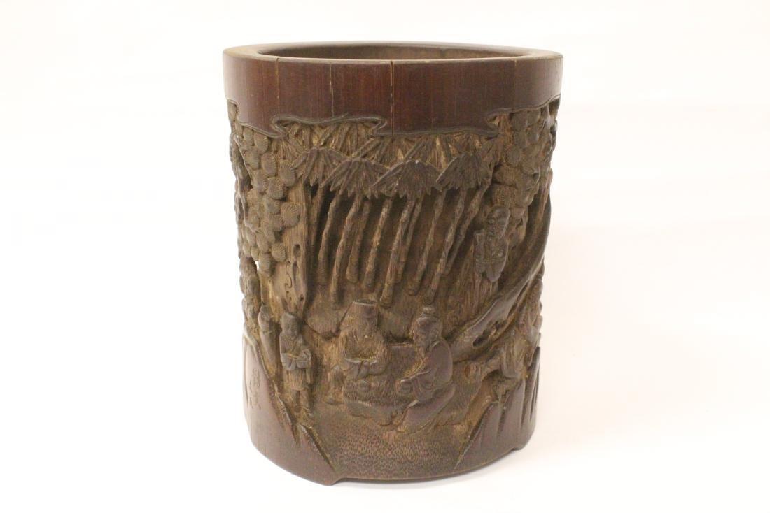 Antique Chinese bamboo brush holder - 2