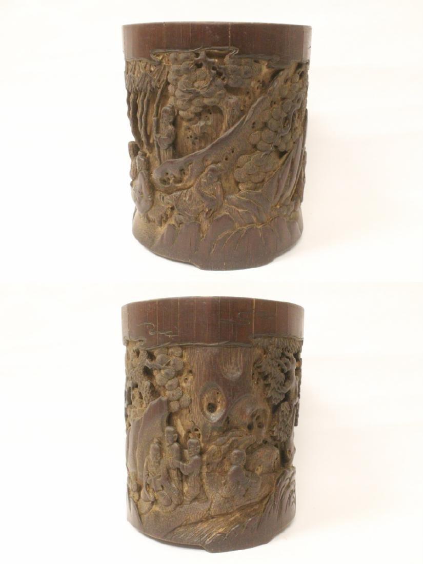 Antique Chinese bamboo brush holder - 3
